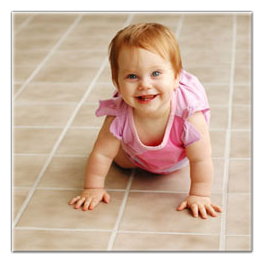Baby On Tile Floor With Clean Grout